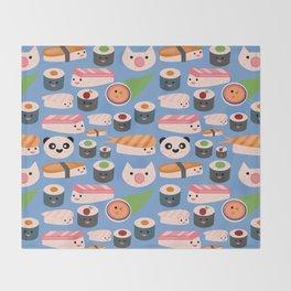 Kawaii sushi blue Throw Blanket