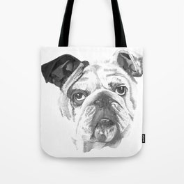 Portrait Of An American Bulldog In Black and White Tote Bag