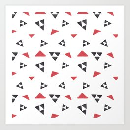 Hand painted watercolor black red geometrical triangles Art Print