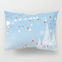 Christmas landscape with snow, Santa Claus, mountains and trees Pillow Sham