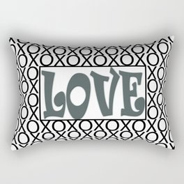 PPG's Night Watch Pewter Green LOVE XOs (Hugs and Kisses) Typography Art Rectangular Pillow