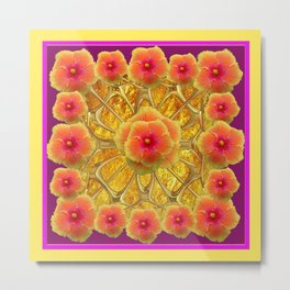 Peachy-Fuchsia Hibiscus Flowers Red Design Metal Print