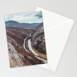 Beautiful photo of the canyon in Serbia, with river and the highway in the middle Stationery Cards