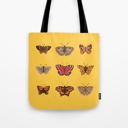 Butterflies Mounted on Yellow Tote Bag