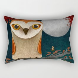 Deep in the Night, Owl Eyes Bright Rectangular Pillow