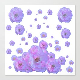 PALE BLUISH-PINK ROSE GARDEN ABSTRACT FLORAL Canvas Print