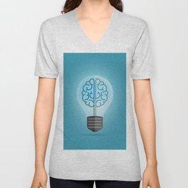 Bulb Brain Blue Unisex V-Neck