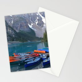 Colorful Canoes at Moraine Lake Stationery Cards