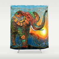 three of the possessed Shower Curtains featuring Elephant's Dream by Waelad Akadan