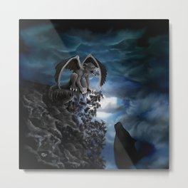 Wolfmoon , Wolf with Golem Metal Print