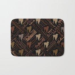 Bullmastiff Dog Word Art pattern Bath Mat