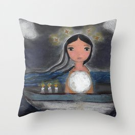 Sailing with the Moon in my Heart by Flor larios Throw Pillow