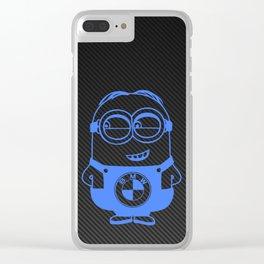 Carbon minion blue Clear iPhone Case