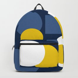 Multi-colored yellow white and blue polka dots . Backpack