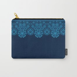 Retro .Vintage . Blue lace on a dark blue background . Carry-All Pouch