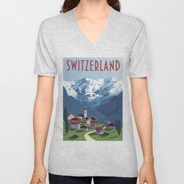 Switzerland Swiss Alps Vintage Travel Poster Commercial Air Travel Poster Unisex V-Neck