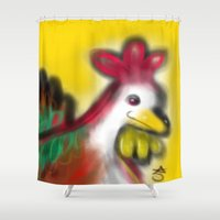 thanksgiving Shower Curtains featuring Thanksgiving Revenge Turkey by ANoelleJay