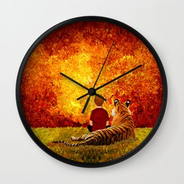 Cute Calvin and the lazy tiger Art painting Wall Clock