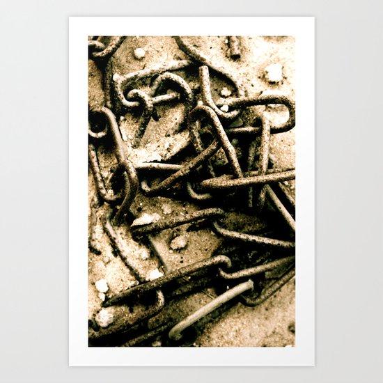 Chains in the garden sand Art Print