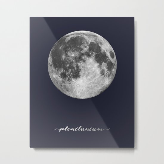 Full Moon on Navy Latin Metal Print