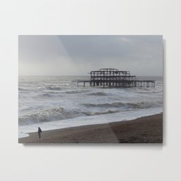 West Pier Wreckage Metal Print
