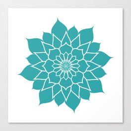 Teal mandala flower, geometrical floral pattern Canvas Print
