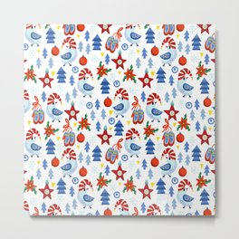 Modern red blue white christmas trees birds stars pattern Metal Print