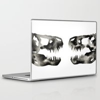 trex Laptop & iPad Skins featuring Inkblot Trex Dinosaur by GeometricInk