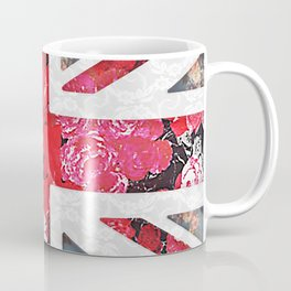 God save the Queen | Elegant girly red floral & lace Union Jack Coffee Mug