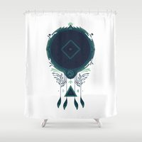 occult Shower Curtains featuring Cosmic Dreaming by Hector Mansilla