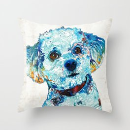 Small Dog Art - Who Me - Sharon Cummings Throw Pillow