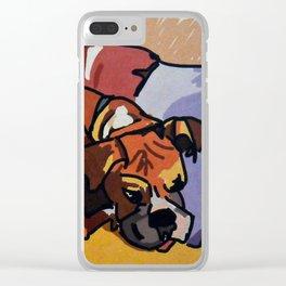 Whimsical Boxer Dog Illustration Clear iPhone Case