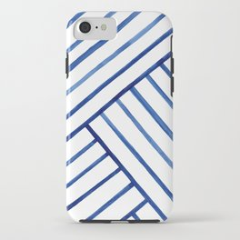 Watercolor lines pattern | Navy blue iPhone Case