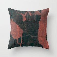 Seattle Map Red Throw Pillow