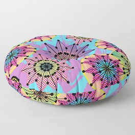 Vibrant Abstract Floral Pattern Floor Pillow