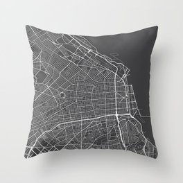 Buenos Aires Map, Argentina - Gray Throw Pillow