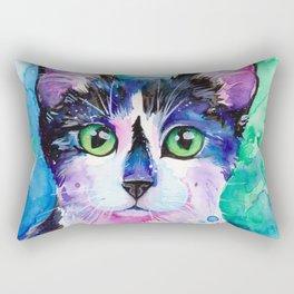 Black and White Tuxedo Cat Rectangular Pillow