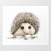 hedgehog Art Prints featuring Hedgehog by Bwiselizzy