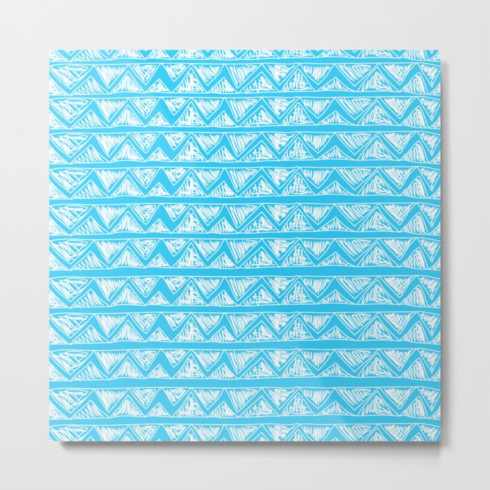 Simple Geometric Zig Zag Pattern- White on Teal -Mix & Match with Simplicity of life Metal Print