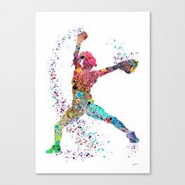 Baseball Softball Pitcher Watercolor Print Art Print Girl's Softball Painting Canvas Print
