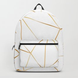 gold polygon on white Backpack