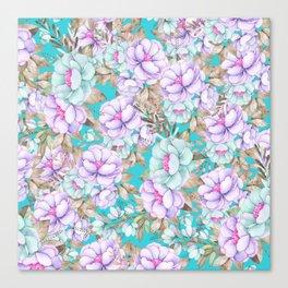 Modern aqua lavender teal watercolor hand painted floral Canvas Print