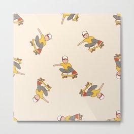 Skater Boy in Yellow Metal Print