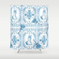 marie antoinette Shower Curtains featuring Marie-Antoinette Monogram (Aqua) by Vannina