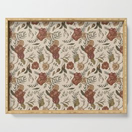 Antique Floral Pattern Serving Tray