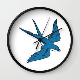 Swallow Flying Down Drawing Wall Clock