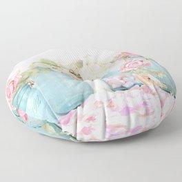 Shabby Chic Aqua Pink Roses Mason Jars Floor Pillow