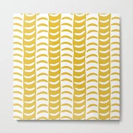 Wavy Stripes Mustard Yellow Metal Print