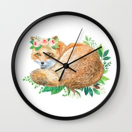 cute fox with roses Wall Clock