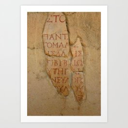 Inscription at the Library of Celsius, Ephesus, Turkey Art Print